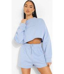 woman korte geborduurde sweater, blue