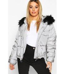 petite oversized cropped pocket padded jacket, grey