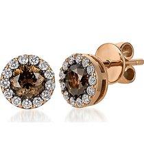 chocolatier® 14k strawberry gold®, chocolate diamond® & vanilla diamond® stud earrings