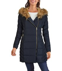 faux fur-trim hooded quilted jacket