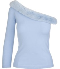 blumarine light blue one shoulder sweater with mink