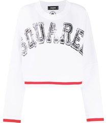 dsquared2 logo-print loose-fit sweatshirt - white