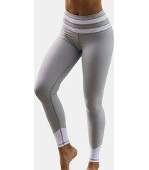 leggings grises de cintura alta de secado rápido con costuras de color en contraste activo