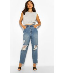 distressed dad-jeans met vintage-wassing en hoge taille, middenblauw
