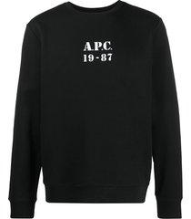 a.p.c. logo print round neck sweatshirt - black
