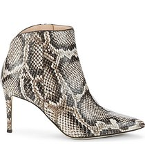 snakeskin-print leather booties