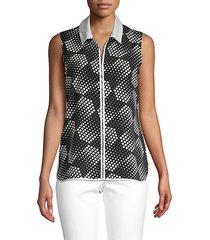 dot-print sleeveless top