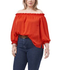 vince camuto plus size off shoulder embroidered blouse