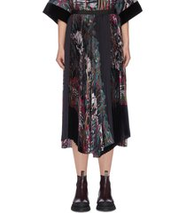 'jungle' graphic print pleated patchwork skirt