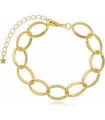 pulseira em maxi elos folheada a ouro 18k - dourado - feminino - dafiti