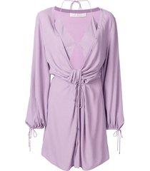 dion lee twist placket tunic dress - purple