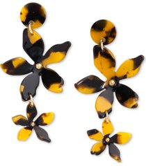 zenzii gold-tone acetate flower double drop earrings