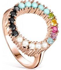 anillo straight disco de plata vermeil rosa tous