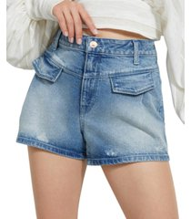 guess pleated front denim shorts