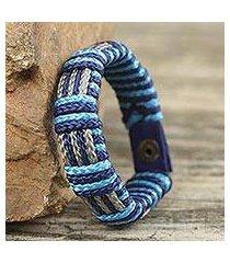men's wristband bracelet, 'blue kente' (ghana)
