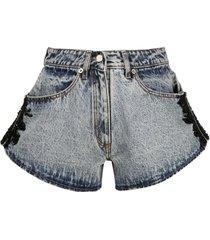 almaz bead-embellished denim shorts - blue