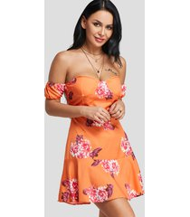 orange floral print strapless dress