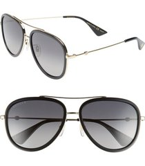 men's gucci web block pilot 57mm polarized aviator sunglasses - gold/ black