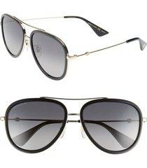 men's gucci web block pilot 57mm polarized aviator sunglasses -