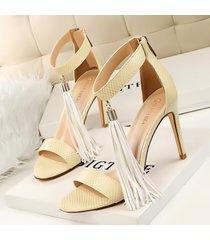 ps345 cutie serpentine fringe sandals, us size 4-8.5 apricot