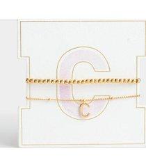 delicate initial bracelet set - c