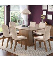 conjunto sala de jantar madesa milena mesa tampo de vidro com 6 cadeiras marrom - marrom - dafiti