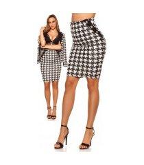 sexy pencil-koker rok in pied-de-poule patroon zwartwit