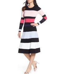 women's eliza j stripe sweater dress, size medium - black