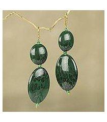 beaded dangle earrings, 'good thing' (ghana)