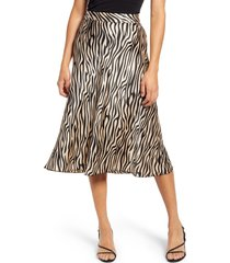 women's vero moda christas satin midi skirt, size small - brown