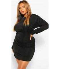 plus getextuurde strakke geplooide mini jurk, zwart