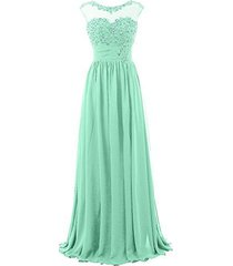 blevla cap sleeve sequined chiffon bridesmaid prom dresses formal gowns mint ...