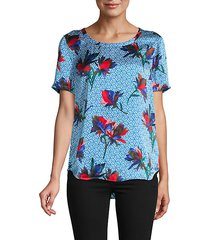 hana mixed floral & geo print silk top