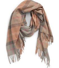 barbour hailes tartan scarf in taupe/pink tartan at nordstrom