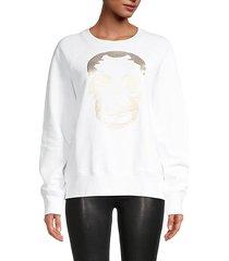metallic skull graphic sweatshirt
