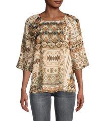 calvin klein women's geometric-print puffed-sleeve top - luggage combo - size xs