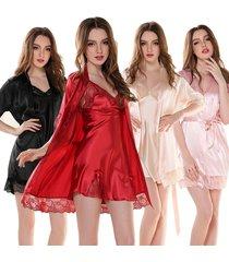 sexy women nightgown sleepwear female silk robe twinset lounge sets