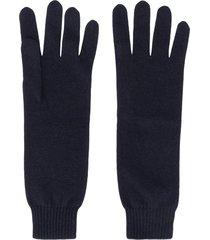 jil sander cashmere knitted gloves - blue