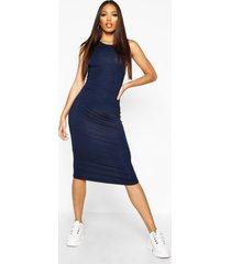 mouwloze midi-jurk, marineblauw