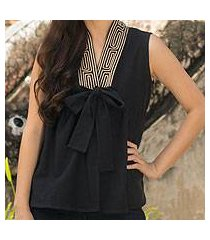 cotton blouse, 'relax in black' (thailand)