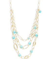 18k yellow gold & turquoise multi-strand necklace