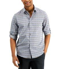 alfani men's destin ikat striped shirt, created for macy's