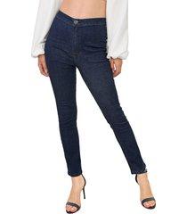 calça jeans my favorite thing(s) slim pespontos azul-marinho - kanui