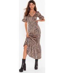 womens dazzle me zebra midi dress - caramel
