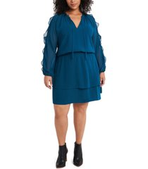 1.state trendy plus size ruffled cold-shoulder dress