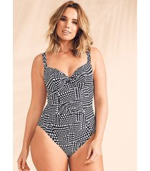 cape cod underwire twist plunge tummy control one-piece swimsuit d-gg