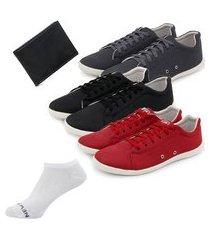 kit 3 sapatênis casuais + carteira + cinto elegante - grafite/preto/vermelho ro02