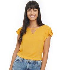 blusa con boleros color amarillo, talla xs