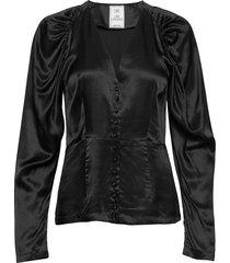 peaches short solid blouse lange mouwen zwart line of oslo