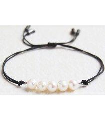 naturalne perły : bransoletka na sznurku